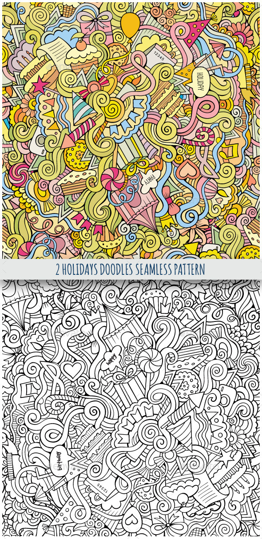 2 Holiday Doodles Seamless Pattern - Seasons/Holidays Conceptual