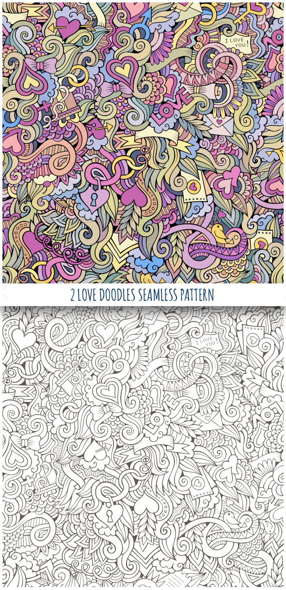 2 Love Doodles Seamless Pattern - Valentines Seasons/Holidays