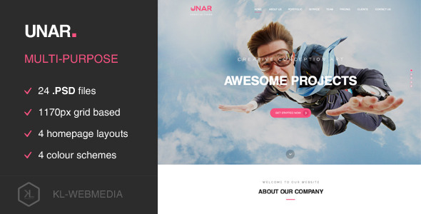 Unar - Multi-Purpose PSD Template - Portfolio Creative