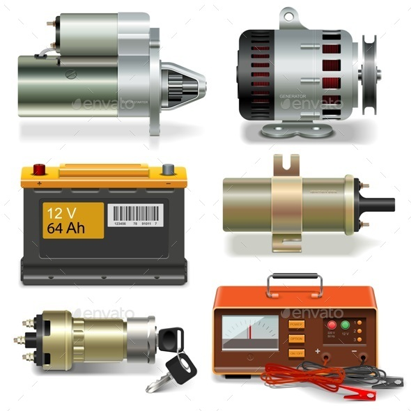 Electric Car Parts Icons - Industries Business