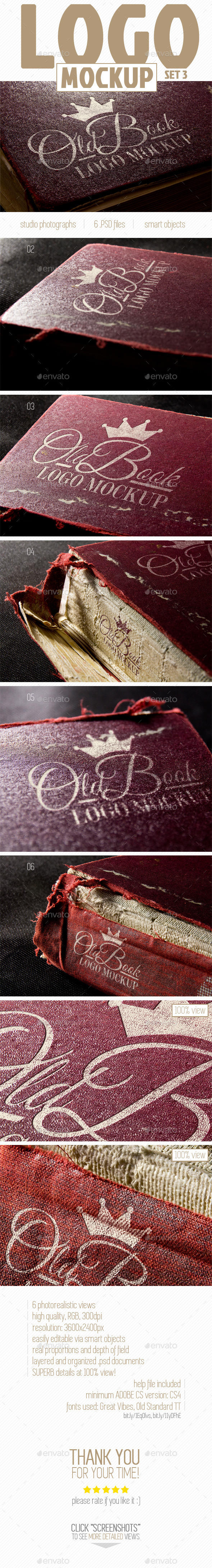 Logo Mockup (Set 3 - Old Book) - Logo Product Mock-Ups
