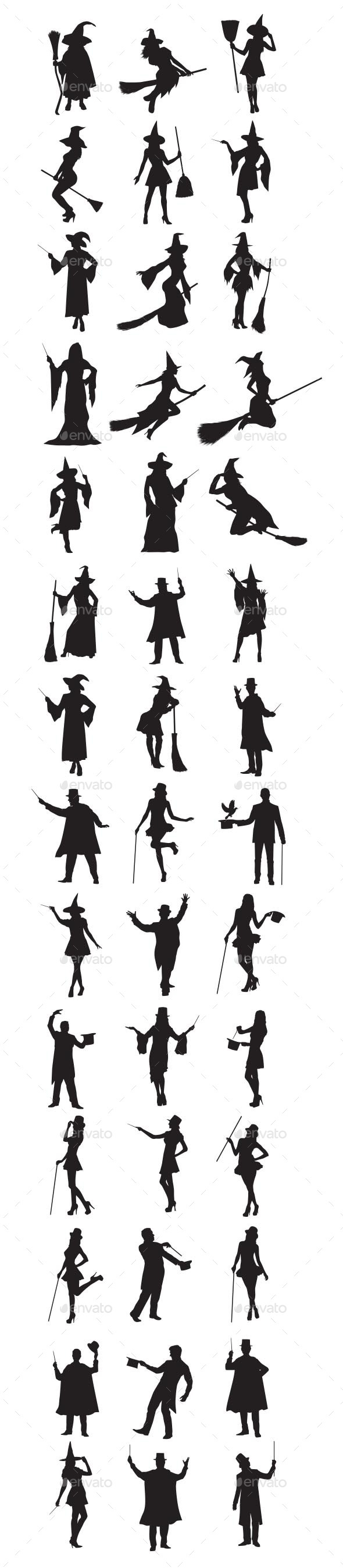 Witch And Magician Silhouettes - People Characters