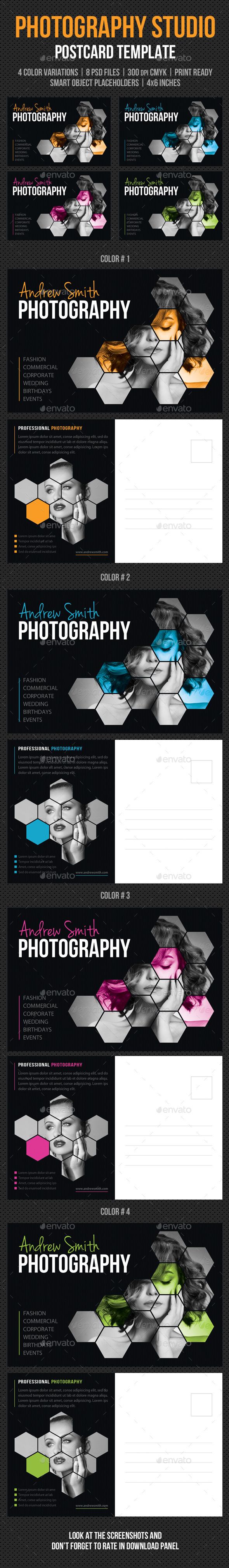 Photography Studio Postcard Template V01 - Cards & Invites Print Templates