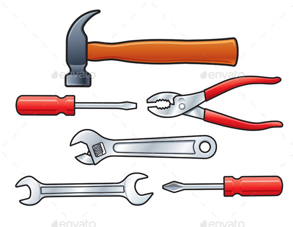 Set of Six Hand Tools - Man-made Objects Objects