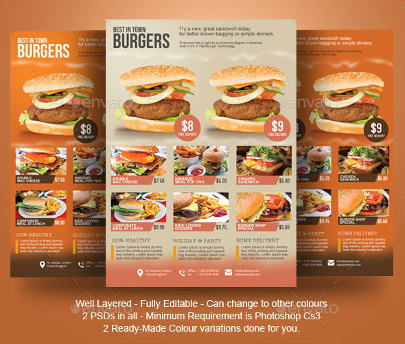 Burger Flyer Template by BloganKids | GraphicRiver