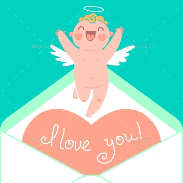 Valentine's Day Card with Cupid and Heart - Valentines Seasons/Holidays
