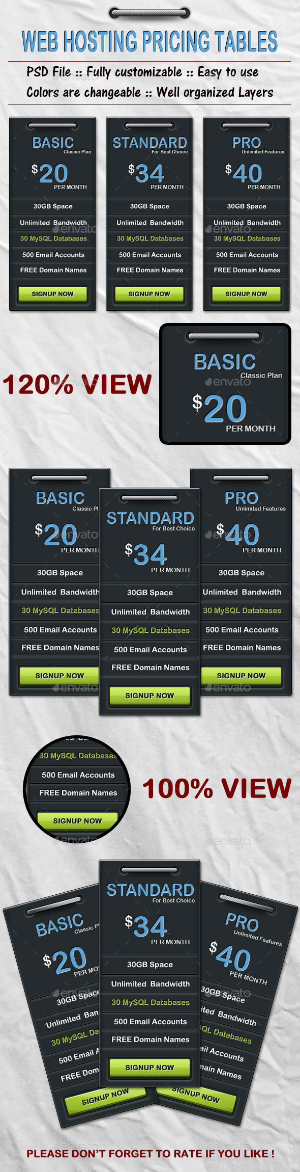 Clean Black Web Pricing Table - Tables Web Elements