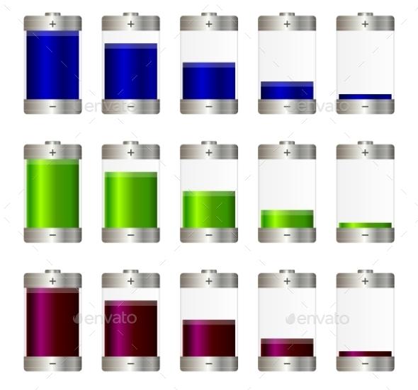 AA Batteries Set - Objects Vectors