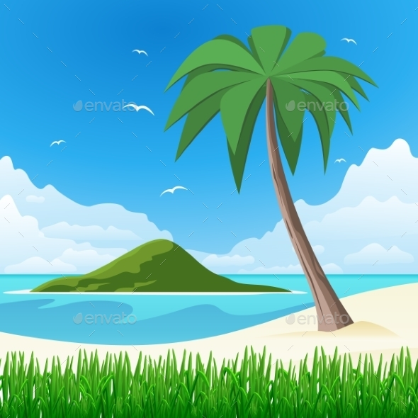 Island with Palm Tree on Tropical White Sand  - Landscapes Nature