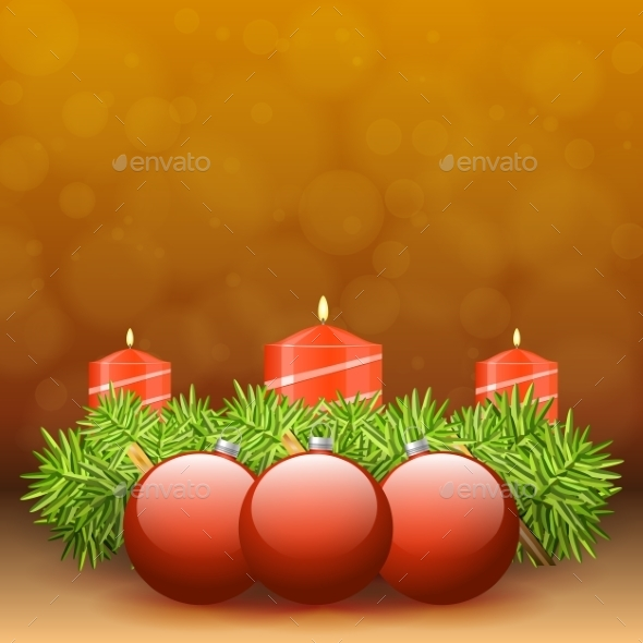 Advent Wreath of Twigs with Red Candles  - Christmas Seasons/Holidays