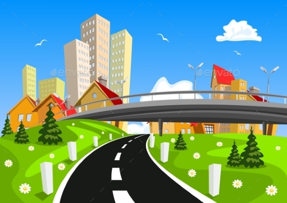 City Surrounded by Nature Landscape - Buildings Objects