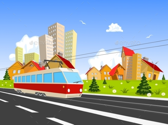 Colorful City with Streetcar - Buildings Objects