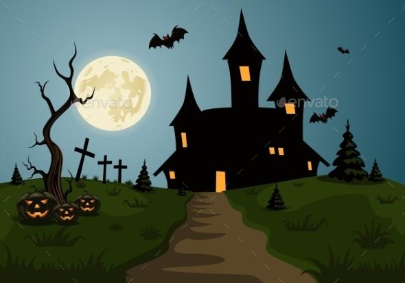 Scary Halloween Background Scene  - Halloween Seasons/Holidays