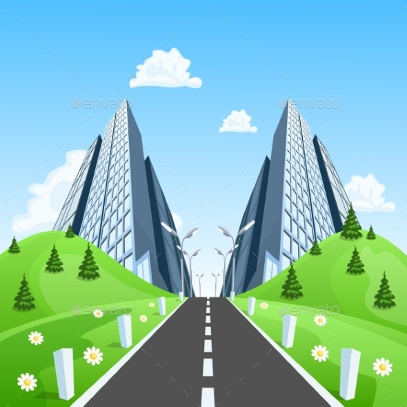 Road into the City Through the Landscape - Buildings Objects