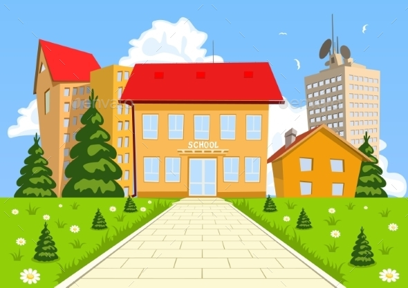 Cartoon Modern School Building - Buildings Objects