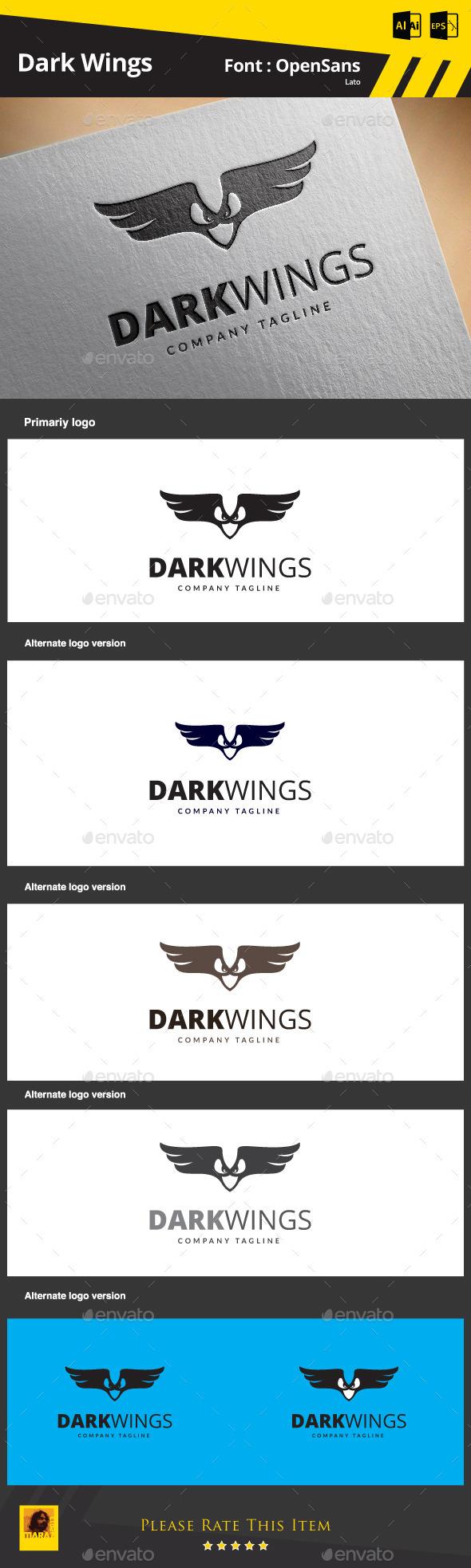 Dark Wings Logo Template - Animals Logo Templates