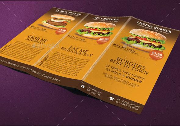 burgers menu tri fold brochure by adburst