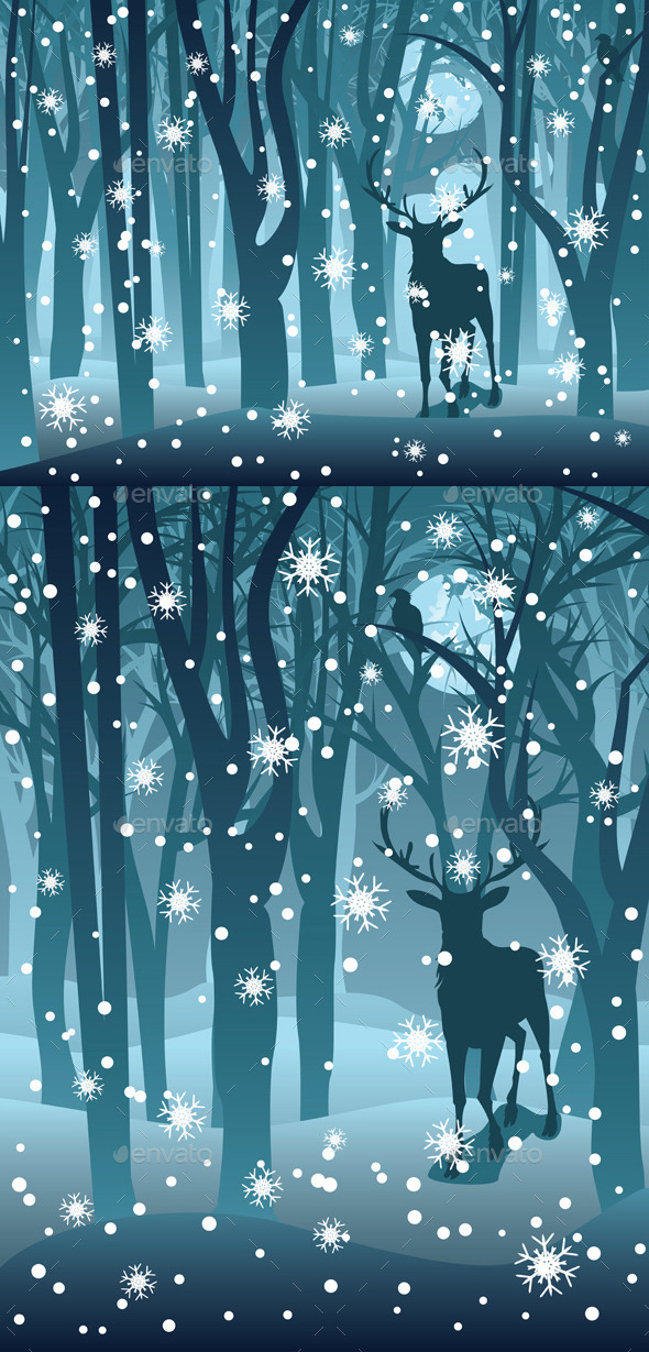 Stag in Winter Forest - Animals Characters