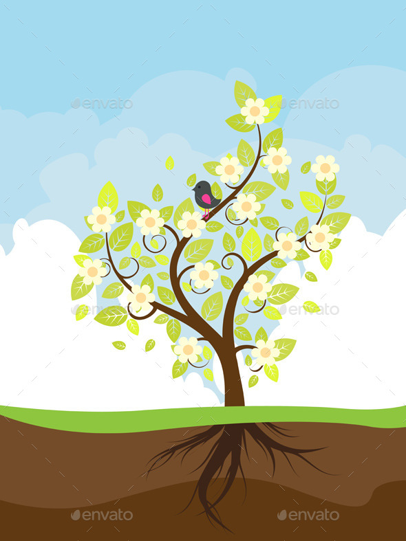 Stylized Spring Tree - Nature Conceptual