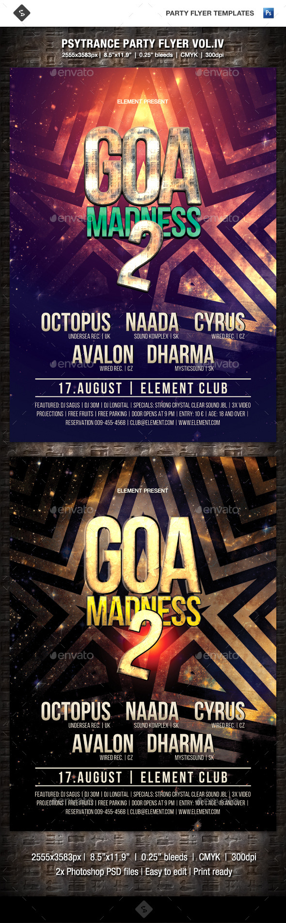 Psytrance Party Flyer Vol.4 - Goa Madness 2 - Clubs & Parties Events