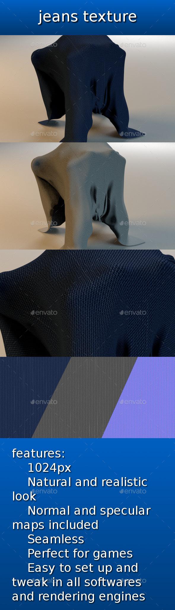 jeans texture - 3DOcean Item for Sale