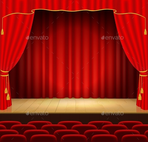 Theater Stage with Red Curtain - Backgrounds Decorative