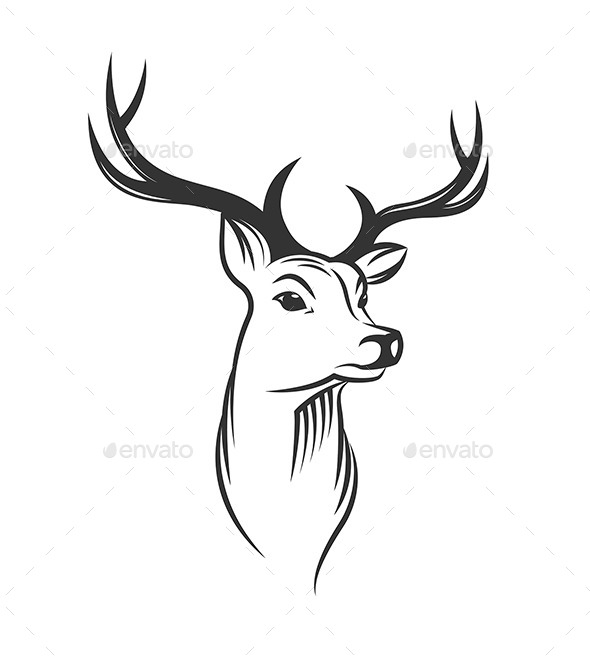 Deer Head on White Background - Animals Characters