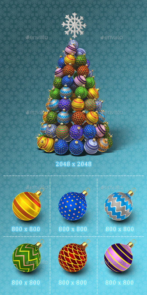 New Year Tree Set - Objects 3D Renders