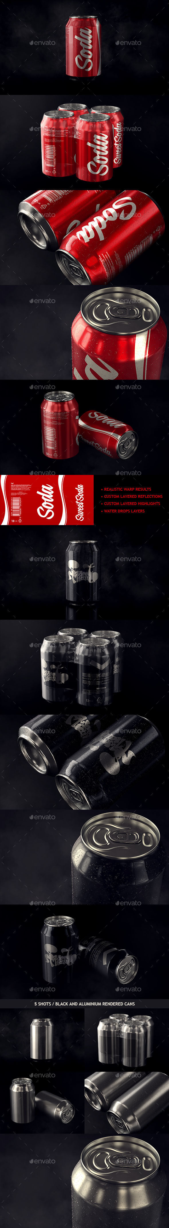 Photorealistic Aluminum Soda Can Mockup - Food and Drink Packaging
