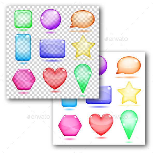 Colored Glass Shapes - Decorative Symbols Decorative
