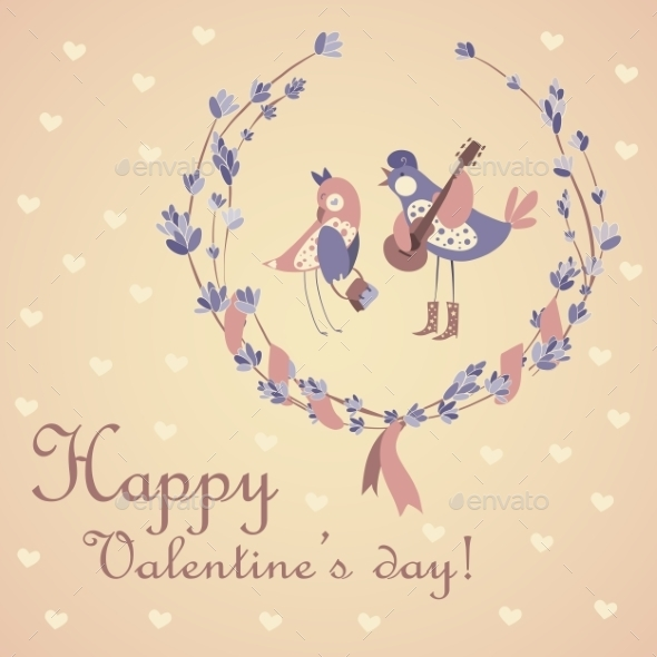Pair of Birds Celebrating Valentine's Day - Valentines Seasons/Holidays