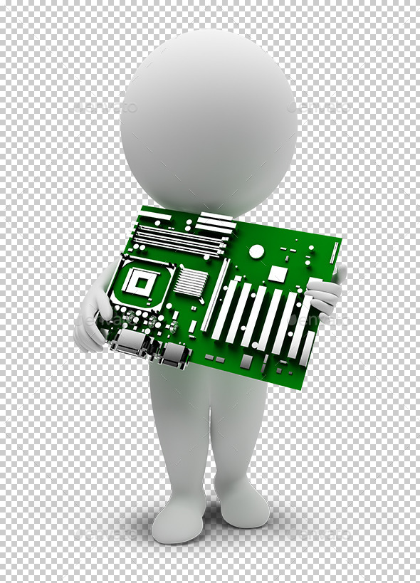3D Small People - Motherboard - Characters 3D Renders