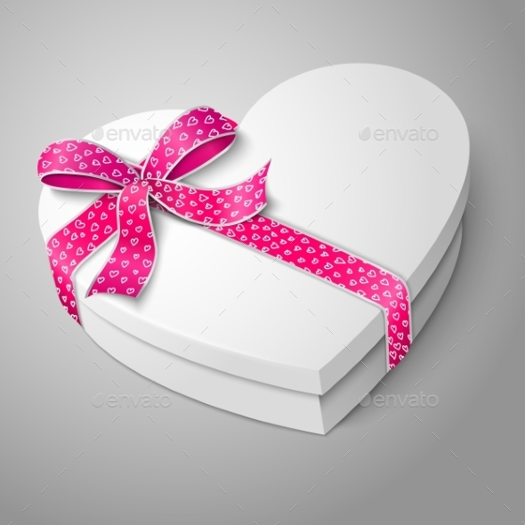 White Heart Shape Box - Man-made Objects Objects