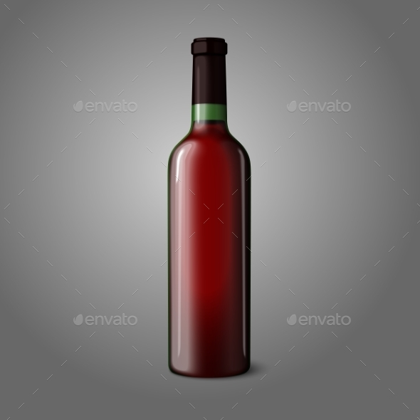 Blank Red Wine Bottle  - Man-made Objects Objects