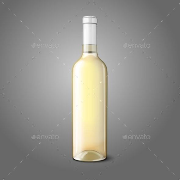 White Wine Bottle - Man-made Objects Objects
