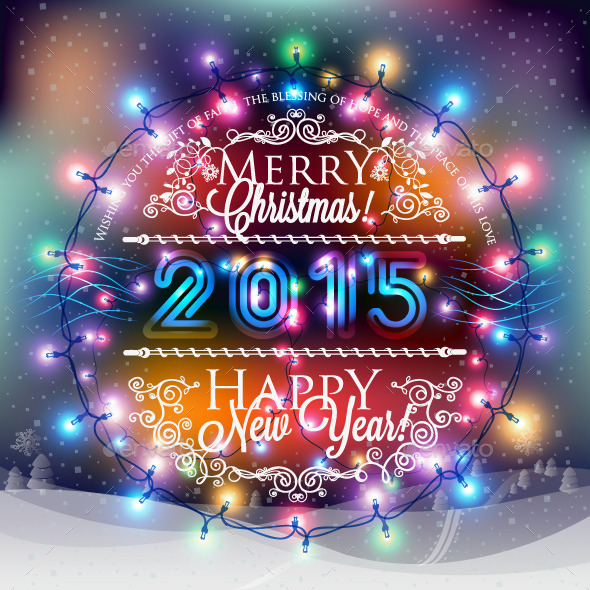 Christmas and New Year Label with Colored Lights - New Year Seasons/Holidays