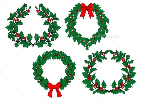 Christmas Holly Garlands Set - Christmas Seasons/Holidays