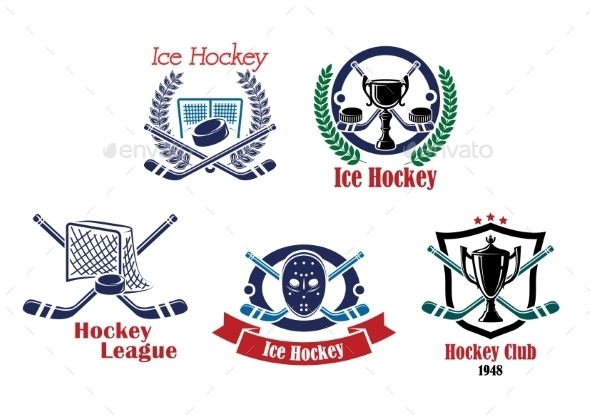 Ice Hockey Emblems - Sports/Activity Conceptual
