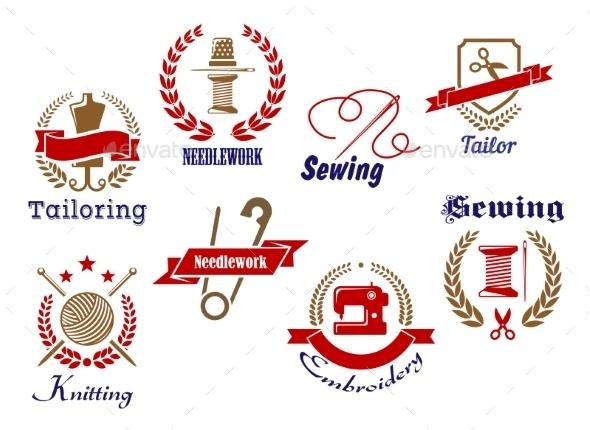 Retro Needlework Emblems Set - Miscellaneous Vectors