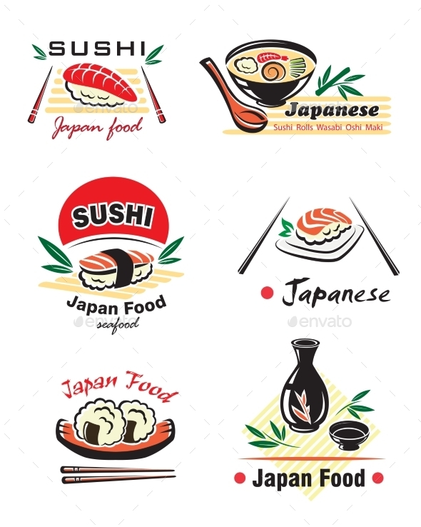 Japanese Sushi Seafood Emblems - Food Objects