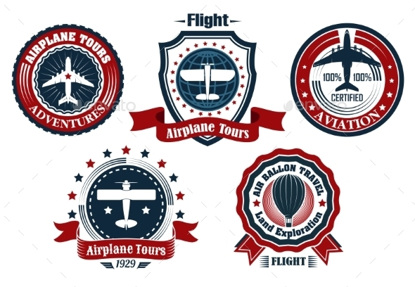 Retro Flight Emblems - Travel Conceptual