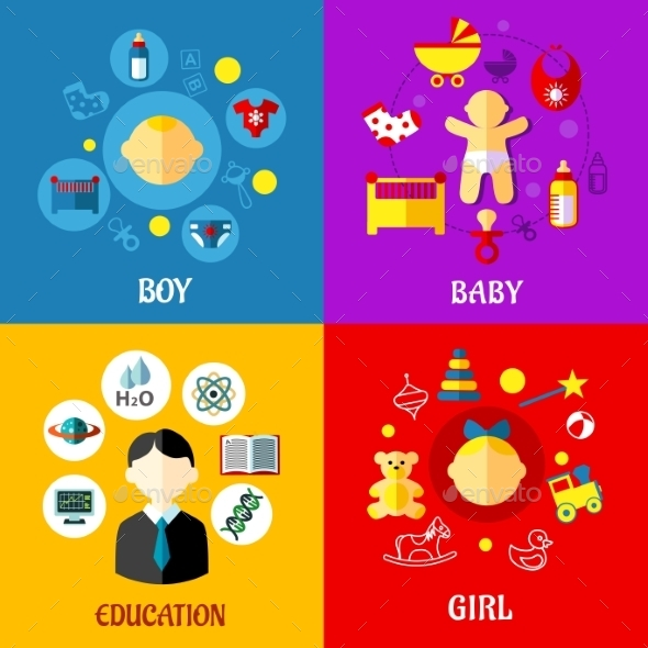 Childhood Concept - Miscellaneous Vectors