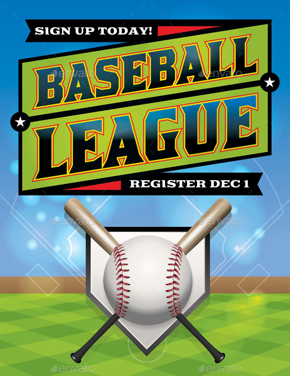 Vector Baseball League Illustration - Sports/Activity Conceptual