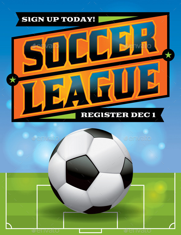 Vector Soccer League Flyer Illustration - Sports/Activity Conceptual