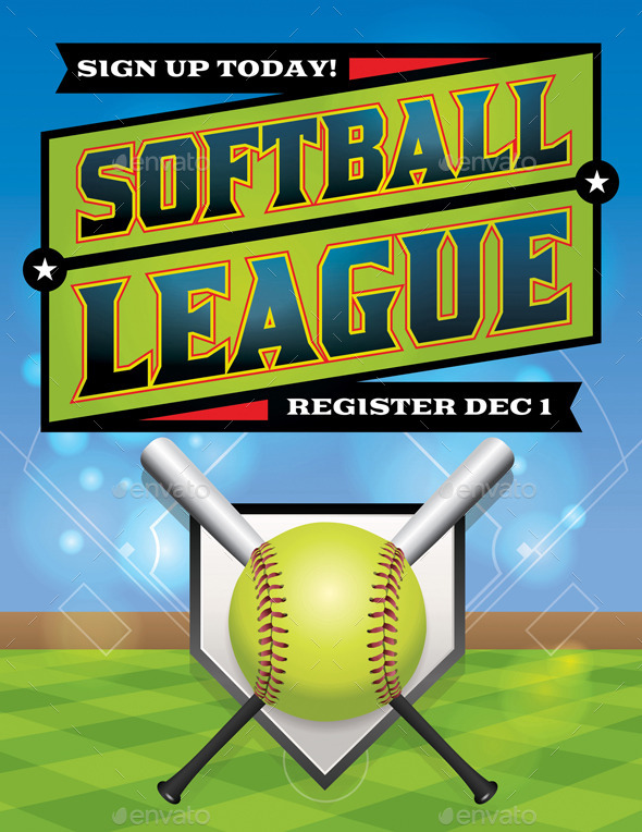 Vector Softball League Flyer Illustration - Sports/Activity Conceptual
