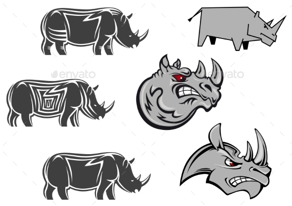 African Rhinoceros Characters - Animals Characters