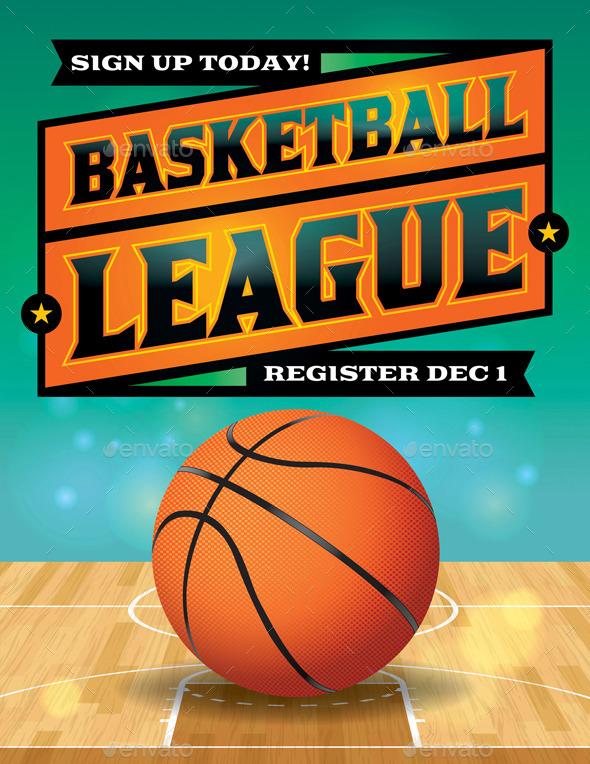Vector Basketball League Flyer Illustration - Sports/Activity Conceptual
