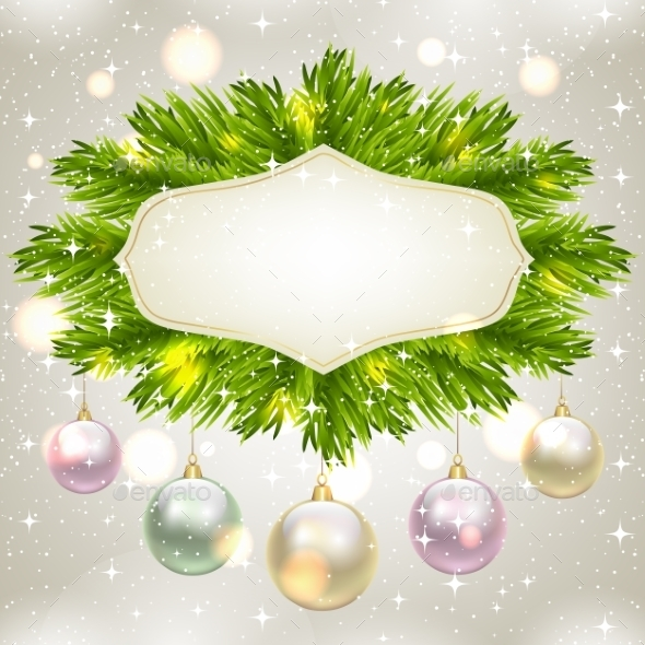 Fir Tree Frame with Baubles - Christmas Seasons/Holidays