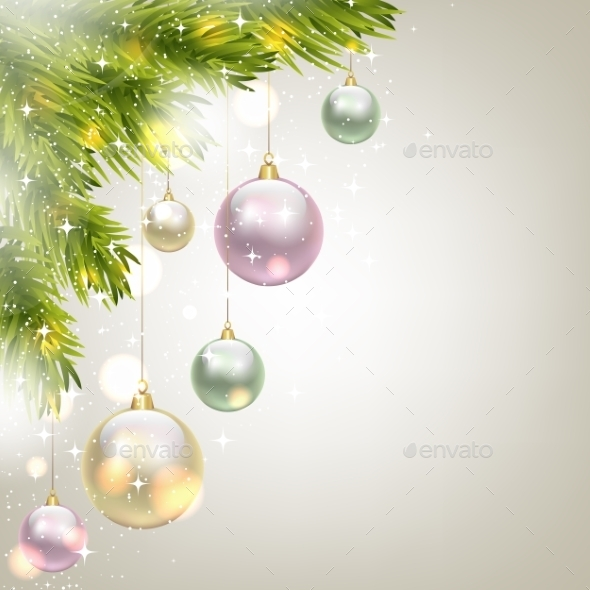 Fir Tree Background with Baubles - Christmas Seasons/Holidays