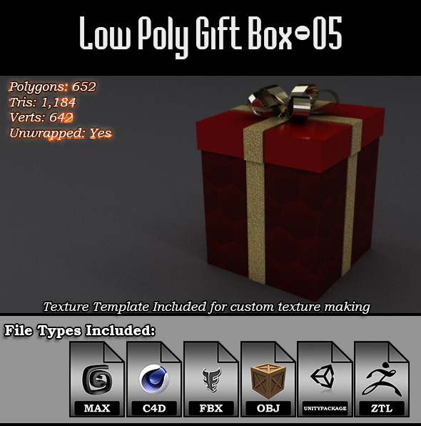 Low Poly Gift Box - 05 - 3DOcean Item for Sale